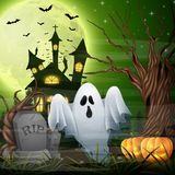 Scary church background with ghost and pumpkins. Illustration of Scary church background with ghost and pumpkins Stock Photo