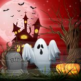 Scary church background with ghost and pumpkins. Illustration of Scary church background with ghost and pumpkins Stock Images