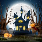 Scary church background with scarecrow and pumpkins vector illustration