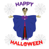 Illustration of scary Dracula in Halloween night. Hand lettering Happy Halloween Royalty Free Stock Image