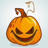 Illustration of a scary halloween pumpkin Jack O Lantern head with smiling expression isolated on white background Stock Photos