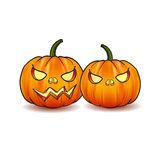 Illustration of Scary Jack O Lantern Halloween pumpkin with candle light inside Stock Photos