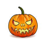 Illustration of Scary Jack O Lantern Halloween pumpkin with candle light inside Stock Images