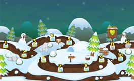 Snowy Winter Game Level Map. Illustration of scary snowy witner for creating game level map for adventure or puzzle games with Christmas and winter theme royalty free illustration