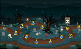Scary Graveyard Game Level Map. Illustration of scary zombie graveyard for creating game level map for adventure or puzzle games vector illustration