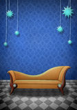 Illustration of a scene with a brown sofa. Abstract illustration of an interior scene with a sofa, paper texture, ideal for, posters, cards, advertising Stock Photography
