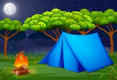 Scene camping out in the woods at night illustration Stock Images