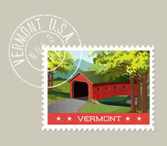Illustration of scenic covered bridge over stream, Vermont. Royalty Free Stock Photos