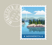 Illustration of scenic lake and forest in Minnesota Stock Photo
