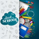 School background with school supplies and paper on blue background. Illustration of School background with school supplies and paper on blue background Royalty Free Stock Photo