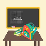 Illustration of school board, books and schoolbag Royalty Free Stock Images
