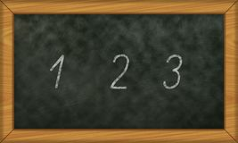 Chalkboard with first numbers 1 to 3. Illustration of a school board with first numbers 1 to 3 Royalty Free Stock Photo