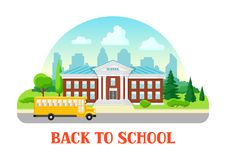 Illustration of school building and bus. City landscape with houses, trees and clouds Royalty Free Stock Photography