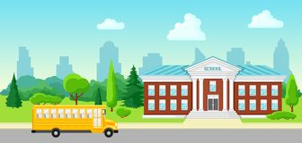 Illustration of school building and bus. City landscape with houses, trees and clouds Royalty Free Stock Images