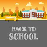 Illustration of school building and bus. City landscape with houses, trees and clouds Royalty Free Stock Image