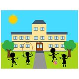 School building. Illustration of school building with children playing Royalty Free Stock Images