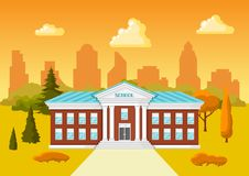 Illustration of school building. City landscape with houses, trees and clouds Stock Photo