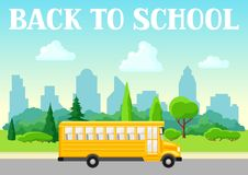 Illustration of school bus. City landscape with houses, trees and clouds Royalty Free Stock Photography