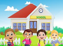 Illustration of School children in front of the school building Royalty Free Stock Photos