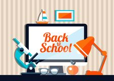 Illustration of school flat design composition. Illustration of vector school flat design composition Royalty Free Stock Images