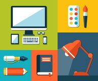Illustration of school flat design composition. Illustration of vector school flat design composition Stock Images