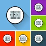 School locker icons with long shadow. Illustration of school locker icons with long shadow Royalty Free Stock Photo