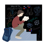Illustration with schoolboy reading science. Stock Photos