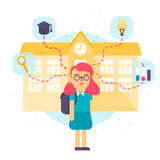 Illustration of a schoolgirl with school building. Flat style vector illustration isolated. On white background Stock Image