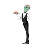 Illustration: Schreckliche Brain Waiter Carrying ein Gehirn auf einem Behälter, auf weißem Hintergrund Lizenzfreie Stockbilder