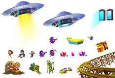 Illustration: Science Fiction Elements Set 5. UFO, Little Hero, Portal, Mine, Gem Cluster etc. Realistic Cartoon Style Sci-Fi Elements Design Royalty Free Stock Image