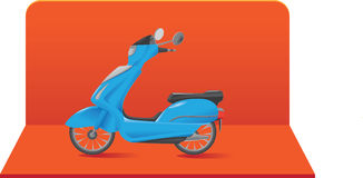 Illustration of scooter / motorbike. Illustration of a blue scooter / motorbike being showcased on an orange background vector illustration