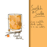Illustration with Scotch and Soda cocktail. Illustration with hand drawn Scotch and Soda cocktail royalty free illustration