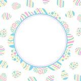 Illustration for scrapbooking. Easter holiday illustration. Round frame of colored eggs. Flat design.  vector illustration