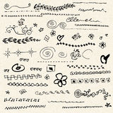 Illustration of scribbles on a sheet of lined paper Stock Images
