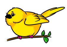Illustration se reposante de bande dessinée de branche de petit caractère animal jaune jaune canari d'oiseau illustration stock