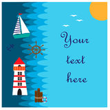 Illustration with sea and nautical elements Stock Image