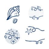 Sea Shell and Rope Design Set Royalty Free Stock Image