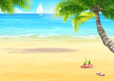 Illustration of the sea shore with palm trees and seashells Stock Image