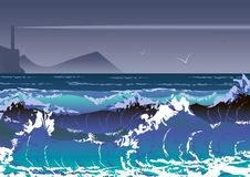 Illustration with sea storm and lighthouse. Sea waves and stormy sky. 10 eps stock illustration
