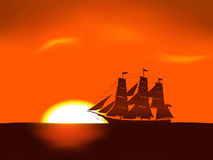 Illustration of sea sunrise. Scene with sailing ship's silhouette Royalty Free Stock Image
