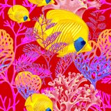 Seamless vector pattern with fish and corals. Illustration of the seabed with exotic fish and corals. Vector pattern. Seamless background for textile, fabric Royalty Free Stock Photos