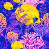 Seamless vector pattern with fish and corals. Illustration of the seabed with exotic fish and corals. Vector. Seamless background for textile, fabric, paper Stock Images