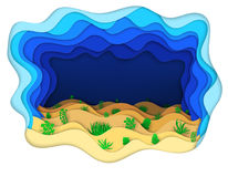 Illustration of a seabed with green algae Royalty Free Stock Photo
