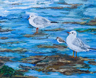 Illustration of Seagulls and Sanpiper on a beach Royalty Free Stock Image