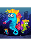 Illustration of seahorse swimming underwater. Cute cartoon sea horse underwater Royalty Free Stock Photography