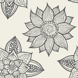 Illustration of seamless hand-drawn floral pattern Royalty Free Stock Photo