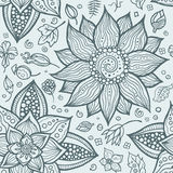 Illustration of seamless hand-drawn floral pattern Royalty Free Stock Images