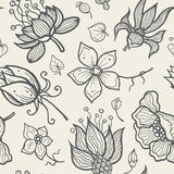 Illustration of seamless hand-drawn floral pattern Stock Photography