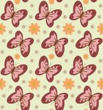 Seamless pattern with abstract butterflies and flowers. Illustration. Seamless pattern with abstract pink with brown butterflies and beige flowers. On a green Stock Image