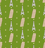 Illustration Seamless Pattern of the Architectural Symbols, Famous Landmarks Stock Photography